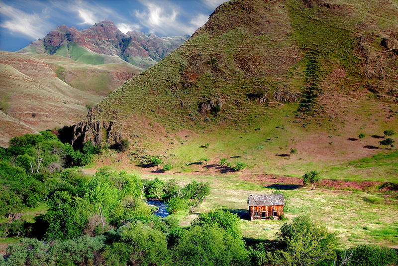 Cabin in Imnaha Canyon. Hells Canyon National Recreation Area, Oregon