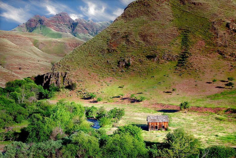 Cabin in Imnaha Canyon. Hells Canyon National Recreation Area, Oregon