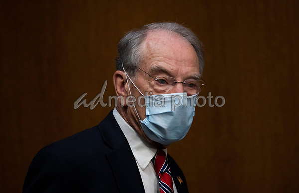 """United States Senator Chuck Grassley (Republican of Iowa) arrives for a US Senate Finance Committee hearing on """"COVID-19 and Beyond: Oversight of the FDA's Foreign Drug Manufacturing Inspection Process"""" at the US Capitol in Washington, DC on June 2, 2020.<br /> Credit: Andrew Caballero-Reynolds / Pool via CNP/AdMedia"""