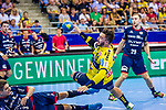 Nikola VLAHOVIC (#3 SG Bietigheim)\Jannik KOHLBACHER (#80 Rhein-Neckar Loewen) \Jan DOELL (#29 SG Bietigheim)\ beim Spiel in der Handball Bundesliga, SG BBM Bietigheim - Rhein Neckar Loewen.<br /> <br /> Foto &copy; PIX-Sportfotos *** Foto ist honorarpflichtig! *** Auf Anfrage in hoeherer Qualitaet/Aufloesung. Belegexemplar erbeten. Veroeffentlichung ausschliesslich fuer journalistisch-publizistische Zwecke. For editorial use only.