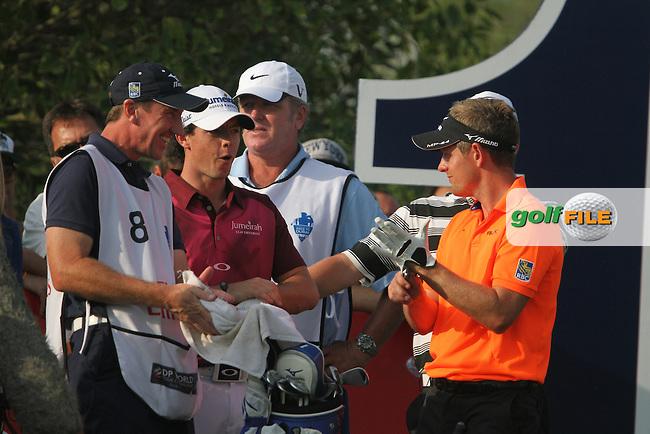 Rory McIlroy (NIR) and Luke Donald (ENG) on the 14th tee during Round 3 of the DP World Tour Championship, Jumeirah Golf Estates, Dubai, United Arab Emirates. 24/11/12...(Photo Jenny Matthews/www.golffile.ie)