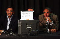 Pictured L-R: Neil Taylor, Leon Britton and Ashley Williams Thursday 08 April 2016<br />Re: Zimkids dinner at the Liberty Stadium, Swansea, UK