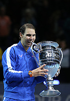 15th November 2019; O2 Arena, London, England; Nitto ATP Tennis Finals; Rafael Nadal (ESP) was presented with the 2019 ATP Tour-End Number One trophy - Editorial Use