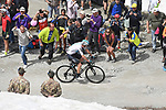 Chris Froome (GBR) Team Sky attacks 80km out on the Colle delle Finestre during Stage 19 of the 2018 Giro d'Italia, running 185km from Venaria Reale to Bardonecchia featuring the Cima Coppi of this Giro, the highest climb on the Colle delle Finestre with its gravel roads, before finishing on the final climb of the Jafferau, Italy. 25th May 2018.<br /> Picture: LaPresse/Fabio Ferrari | Cyclefile<br /> <br /> <br /> All photos usage must carry mandatory copyright credit (&copy; Cyclefile | LaPresse/Fabio Ferrari)