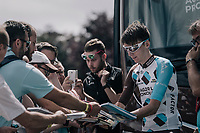 Romain Bardet (FRA/AG2R-La Mondiale) dealing autographs at the start<br /> <br /> 104th Tour de France 2017<br /> Stage 4 - Mondorf-les-Bains &rsaquo; Vittel (203km)