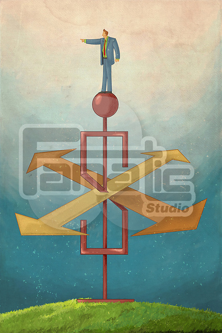 Illustrative image of businessman standing on top of weather vane in shape of dollar representing path to success