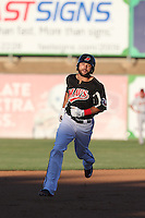 Zach Cone (22) of the High Desert Mavericks runs the bases during a game against the San Jose Giants at Mavericks Stadium on June 14, 2015 in Adelanto, California. High Desert defeated San Jose, 7-5. (Larry Goren/Four Seam Images)