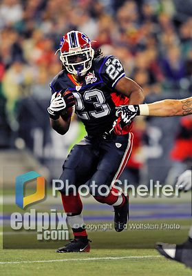 7 December 2008:  Buffalo Bills' running back Marshawn Lynch in action against the Miami Dolphins in the first regular season NFL game ever to be played in Canada. The Dolphins defeated the Bills 16-3 at the Rogers Centre in Toronto, Ontario. ..Mandatory Photo Credit: Ed Wolfstein Photo