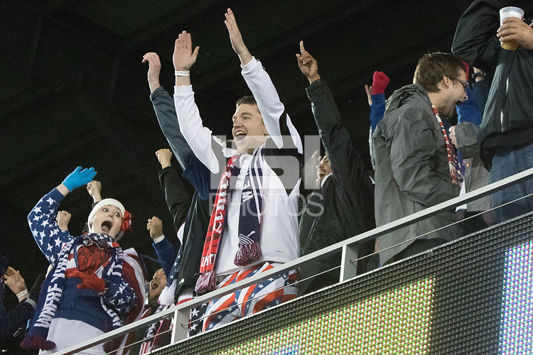 SAN JOSE, CA - March 24, 2017: US Soccer fans celebrate a goal at the CONCACAF World Cup Qualifier game between the USA and Honduras at Avaya Stadium.