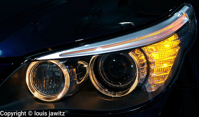 BMW, car head light auto, sculptured yellow abstract