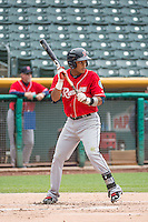 Ketel Marte (7) of the Tacoma Rainiers at bat against the Salt Lake Bees in Pacific Coast League action at Smith's Ballpark on May 7, 2015 in Salt Lake City, Utah. The Bees defeated the Rainiers 11-4 in the completion of the game that was suspended due to weather on May 6, 2015.(Stephen Smith/Four Seam Images)