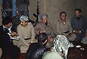 At the headquarters of KDPI, 1st left Rahman Haji Ahmadi, 2nd Abdul Rahman Ghassemlou, 3rd Ghani Bulurian, 5th Mohamed Emin