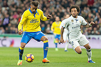 Prince Boateng of UD Las Palmas competes for the ball with Marcelo Vieira of Real Madrid  during the match of Spanish La Liga between Real Madrid and UD Las Palmas at  Santiago Bernabeu Stadium in Madrid, Spain. March 01, 2017. (ALTERPHOTOS / Rodrigo Jimenez) /NORTEPHOTOmex