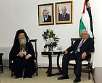 Palestinian President Mahmoud Abbas (Abu Mazen) meets with Heads of churches in the Holy Land in the West Bank city of Ramallah on Aug. 21, 2011. Photo by Mufeed Abu Hasnah