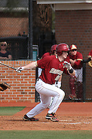 Boston College infielder John Hennessy #10 at bat during a game against the James Madison University Dukes at Watson Stadium at Vrooman Field on February 18, 2012 in Conway, SC.  Boston College defeated James Madison 8-5.  (Robert Gurganus/Four Seam Images)