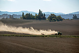 USA, Oregon, Willamette Valley, a farmer prepars a field for planting, Yamhill