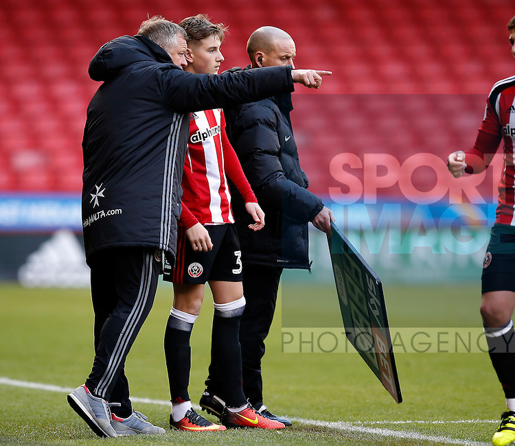 David Brooks of Sheffield Utd is brought on by Chris Wilder manager of Sheffield Utd during the Emirates FA Cup Round One match at Bramall Lane Stadium, Sheffield. Picture date: November 6th, 2016. Pic Simon Bellis/Sportimage
