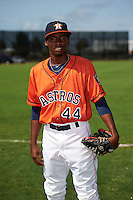 GCL Astros pitcher Enoli Paredes (44) poses for a photo before the first game of a doubleheader against the GCL Mets on August 5, 2016 at Osceola County Stadium Complex in Kissimmee, Florida.  GCL Astros defeated the GCL Mets 4-1 in the continuation of a game started on July 21st and postponed due to inclement weather.  (Mike Janes/Four Seam Images)