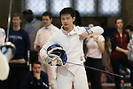 11 February 2017: UNC's Jason Xu during Epee. The Duke University Blue Devils hosted the University of North Carolina Tar Heels at Card Gym in Durham, North Carolina in a 2017 College Men's Fencing match. Duke won the dual match 19-8 overall, 6-3 Foil, 6-3 Epee, and 7-2 Saber.