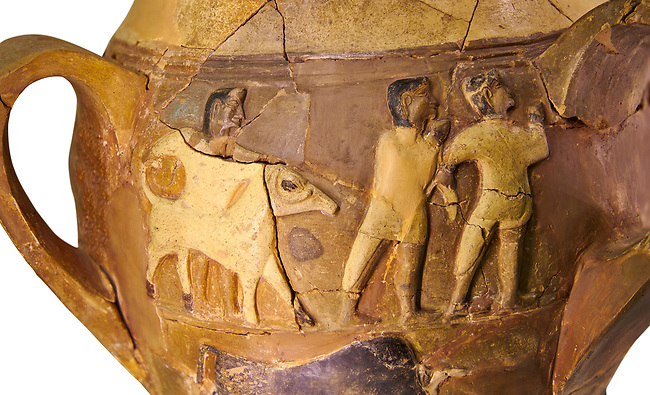 Hüseyindede vases, Old Hittite Polychrome Relief vessel, close up depicting a bull being led to be sacrificed, following Hittite convention of sacrificing an animal of the same gender as the God this bull indicates the sacrifice is to a male god, 16th century BC.. Çorum Archaeological Museum, Corum, Turkey. Against a white bacground.