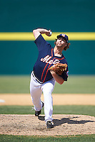 Binghamton Mets relief pitcher Logan Taylor (34) delivers a pitch during a game against the Richmond Flying Squirrels on June 26, 2016 at NYSEG Stadium in Binghamton, New York.  Binghamton defeated Richmond 7-2.  (Mike Janes/Four Seam Images)