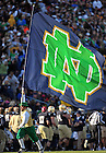 Oct. 29, 2011; The Leprechaun runs with the ND flag after an Irish score...Photo by Matt Cashore
