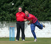 Cricket Scotland - T20 Blitz - Eastern Knights bowler Mark Watt bowls past Umpire Billy McPate on his way to a double wicket maiden in the 5th over - picture by Donald MacLeod - 03.09.08.2017 - 07702 319 738 - clanmacleod@btinternet.com - www.donald-macleod.com