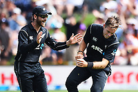 Blackcaps captain Kane Williamson celebrates with Tim Southee after his catch during the 4th ODI Blackcaps v England. University Oval, Dunedin, New Zealand. Wednesday 7 March 2018. ©Copyright Photo: Chris Symes / www.photosport.nz