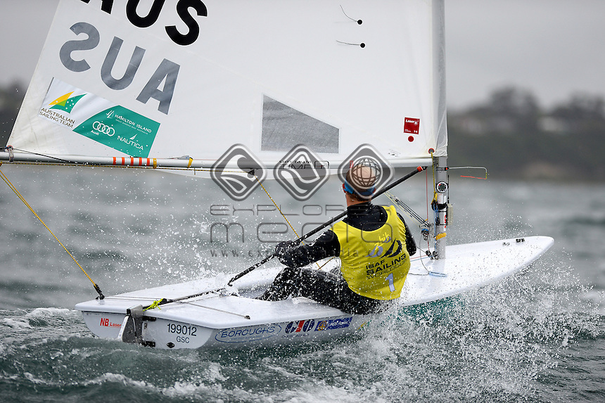 Lasers / Tom Burton (AUS)<br /> 2013 ISAF Sailing World Cup - Melbourne<br /> Sail Melbourne - The Asia Pacific Regatta<br /> Sandringham Yacht Club, Victoria<br /> December 1st - 8th 2013<br /> &copy; Sport the library / Jeff Crow