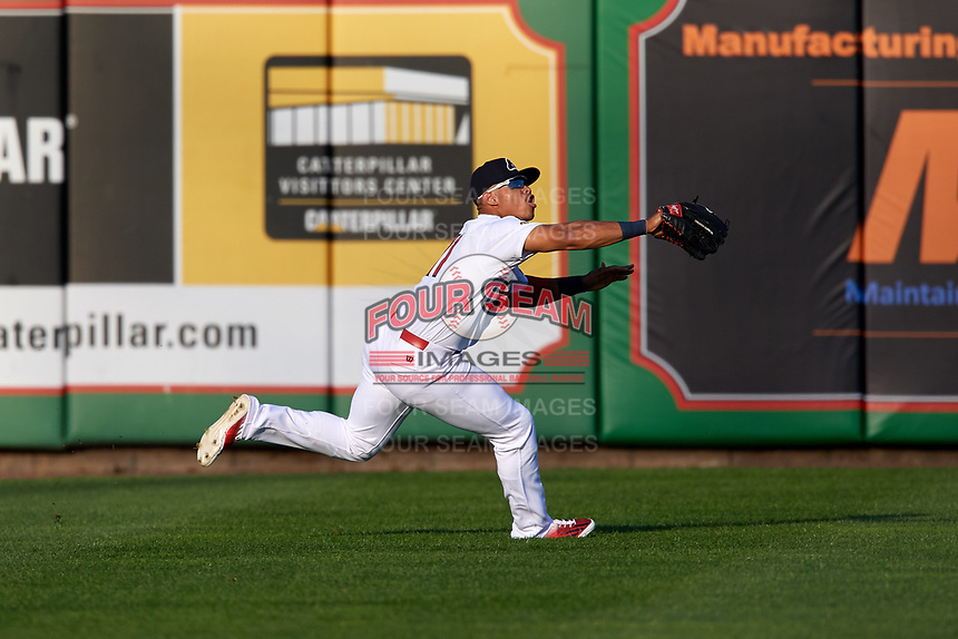 Peoria Chiefs center fielder Nick Plummer (11) tracks a fly ball during a game against the West Michigan Whitecaps on May 8, 2017 at Dozer Park in Peoria, Illinois.  West Michigan defeated Peoria 7-2.  (Mike Janes/Four Seam Images)