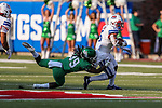 Southern Methodist Mustangs running back Xavier Jones (5) in action during the game between the UNT Mean Green and the SMU Mustangs at the Gerald J. Ford Stadium in Fort Worth, Texas.