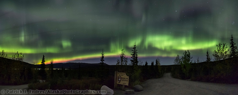 Northern lights fill the sky over the Wonder Lake campground in Denali National Park, Interior, Alaska