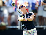 DES MOINES, IA - AUGUST 20: USA's Paula Creamer watches her tee shot on the first hole during her singles match Sunday morning at the 2017 Solheim Cup in Des Moines, IA. (Photo by Dave Eggen/Inertia)