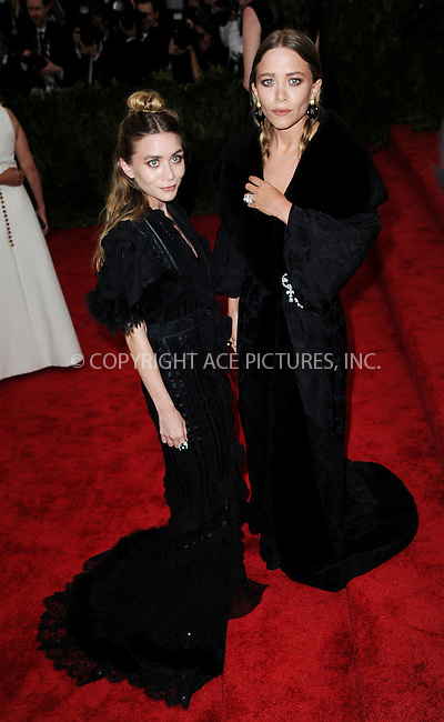 WWW.ACEPIXS.COM<br /> <br /> May 4, 2015...New York City<br /> <br /> Mary Kate Olsen (L) and Ashley Olsen attending the Costume Institute Benefit Gala celebrating the opening of China: Through the Looking Glass at The Metropolitan Museum of Art on May 4, 2015 in New York City.<br /> <br /> By Line: Kristin Callahan/ACE Pictures<br /> <br /> <br /> ACE Pictures, Inc.<br /> tel: 646 769 0430<br /> Email: info@acepixs.com<br /> www.acepixs.com