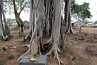 SRI LANKA, Trincomalee, tamil refugees are kept by the singhalese government fter the war against the LTTE Tamil Tigers in so called welfare camps in remoted jungle areas , the camps are under total control of Sri Lankan army, Hindu shrine and Banyan tree / SRI LANKA Trincomalee, Tamilen werden nach dem Krieg der singhalesischen Armee und Regierung gegen die LTTE Tamil Tiger in sogenannten welfare camps in abgelegenen Dschungelgebieten interniert , umgesiedelt und als Menschen 2. Klasse behandelt, die camps sind durch Militaerposten und Armeelager umgeben , urspruengliche Tamilengebiete werden mit Singhalesen besiedelt, Hindu Schrein und Banyan Baum