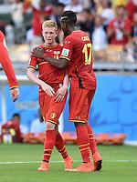 FUSSBALL WM 2014  VORRUNDE    Gruppe H     Belgien - Algerien                       17.06.2014 Kevin De Bruyne (li) und Divock Origi (re, beide Belgien) jubeln nach dem Abpfiff