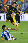 Atletico de Madrid's Saul Iniguez and Club Deportivo Leganes's Unai Bustinza during the match of La Liga between Club Deportivo Leganes and Atletico de Madrid at Butarque Estadium in Leganes. August 27, 2016. (ALTERPHOTOS/Rodrigo Jimenez)