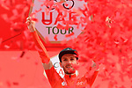 Race leader Adam Yates (GBR) Mitchelton-Scott retains the Red Jersey at the end of Stage 4 the Emirates NBD Stage of the UAE Tour 2020 running 173km from Dubai Zabeel Park to Dubai City Walk, Dubai. 26th February 2020.<br /> Picture: LaPresse/Fabio Ferrari | Cyclefile<br /> <br /> All photos usage must carry mandatory copyright credit (© Cyclefile | LaPresse/Fabio Ferrari)