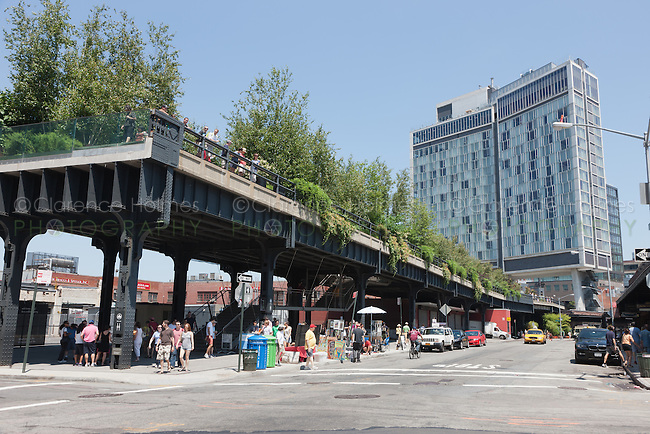 The southern terminus of the High Line at Gansevoort Street in the Meatpacking District of New York City.  The High Line is an urban aerial greenway reclaimed from  the abandoned elevated West Side Line.