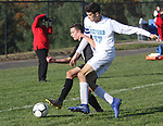BEACON FALLS  CT. - 15 October 2019-101519SV08- #1 Chris Hotchkiss of Woodland High and #37 Tanner Soracco of Oxford Hiigh tangle up while trying to control the ball during NVL soccer action in Beacon Falls Tuesday. <br />Steven Valenti Republican-American