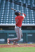 AZL D-backs Neyfy Castillo (17) hits a home run during an Arizona League game against the AZL Cubs 1 on July 25, 2019 at Sloan Park in Mesa, Arizona. The AZL D-backs defeated the AZL Cubs 1 3-2. (Zachary Lucy/Four Seam Images)