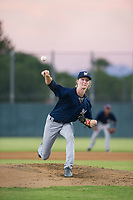 AZL Brewers starting pitcher Caden Lemons (18) delivers a pitch to the plate against the AZL Athletics on August 18, 2017 at Lew Wolff Training Complex in Mesa, Arizona. AZL Brewers defeated the AZL Athletics 6-4. (Zachary Lucy/Four Seam Images)