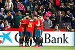 Spain's players celebrate goal  during the International Friendly match on 21th March, 2019 in Granada, Spain. (ALTERPHOTOS/Alconada)
