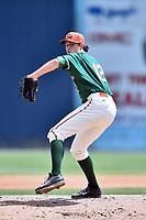 Greensboro Grasshoppers starting pitcher Dustin Beggs (12) delivers a pitch during a game against the Asheville Tourists at McCormick Field on April 30, 2017 in Asheville, North Carolina. The Grasshoppers defeated the Tourists 7-0. (Tony Farlow/Four Seam Images)
