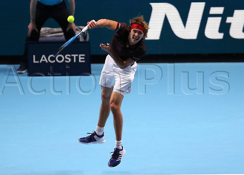 14th November 2017, O2 Arena, London, England; Nitto ATP Tennis Finals; Alexander Zverev Jr (GER) serves to Roger Federer (SWZ)