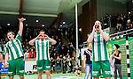 Stockholm 2014-12-03 Handboll Elitserien Hammarby IF - IFK Sk&ouml;vde :  <br /> Hammarbys Nils Pettersson jublar med lagkamrater framf&ouml;r Hammarbys supportrar efter matchen mellan Hammarby IF och IFK Sk&ouml;vde <br /> (Foto: Kenta J&ouml;nsson) Nyckelord:  Eriksdalshallen Hammarby HIF Bajen IFK Lugi jubel gl&auml;dje lycka glad happy