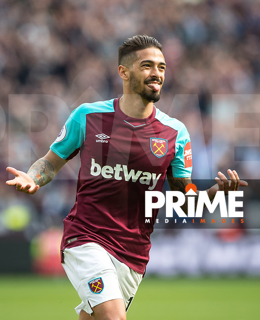 Manuel Lanzini of West Ham celebrates his second goal during the Premier League match between West Ham United and Everton at the Olympic Park, London, England on 13 May 2018. Photo by Andy Rowland / PRiME Media Images.