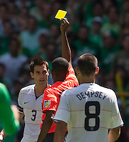 Carlos Bocanegra receives a yellow card. .USA Men's National Team loses to Mexico 2-1, August 12, 2009 at Estadio Azteca, Mexico City, Mexico. .   .