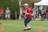 August 1, 2018: New England Patriots quarterback Tom Brady (12) drops back to pass at the New England Patriots training camp held on the practice fields at Gillette Stadium, in Foxborough, Massachusetts. Eric Canha/CSM