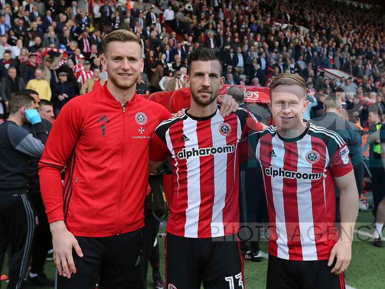 Sheffield United's Geogre Long, Jake Wright and Mark Duffy celebrate during the League One match at Bramall Lane, Sheffield. Picture date: April 30th, 2017. Pic David Klein/Sportimage
